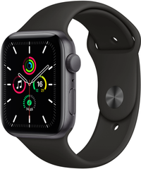 Apple Watch SE (GPS) 44mm Aluminum Case (space gray) with Sport Band (black) (MYDT2)