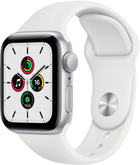 Apple Watch SE (GPS) 40mm Aluminum Case (silver) with Sport Band (white) (MYDM2)