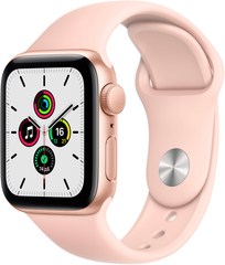 Apple Watch SE (GPS) 40mm Aluminum Case (gold) with Sport Band (pink sand) (MYDN2)