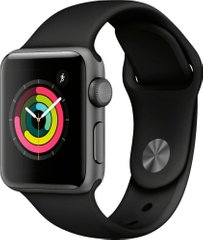 Apple Watch Series 3 (GPS) 38mm Aluminum Case (space gray) with Sport Band (black) (MTF02)