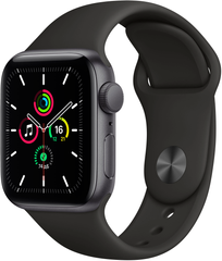 Apple Watch SE (GPS) 40mm Aluminum Case (space gray) with Sport Band (black) (MYDP2)