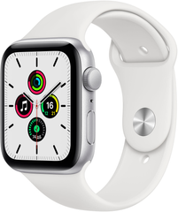Apple Watch SE (GPS) 44mm Aluminum Case (silver) with Sport Band (white) (MYDQ2)