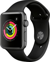Apple Watch Series 3 (GPS) 42mm Aluminum Case (space gray) with Sport Band (black) (MTF32)