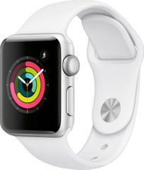 Apple Watch Series 3 (GPS) 38mm Aluminum Case (silver) with Sport Band (white) (MTEY2)